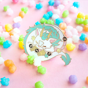'Sleepy-time Haku' Enamel Pin