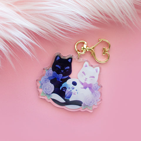 Double Trouble Kittens Keychain