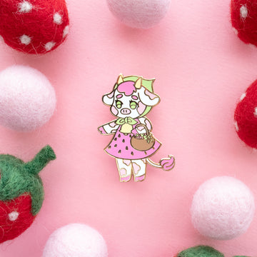 Strawberry Cow Enamel Pin