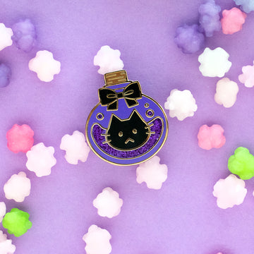 Spooky Cat Potion Bottle Enamel Pin