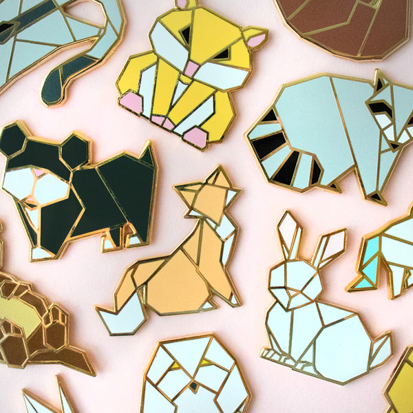 Origami Rabbit Enamel Pin