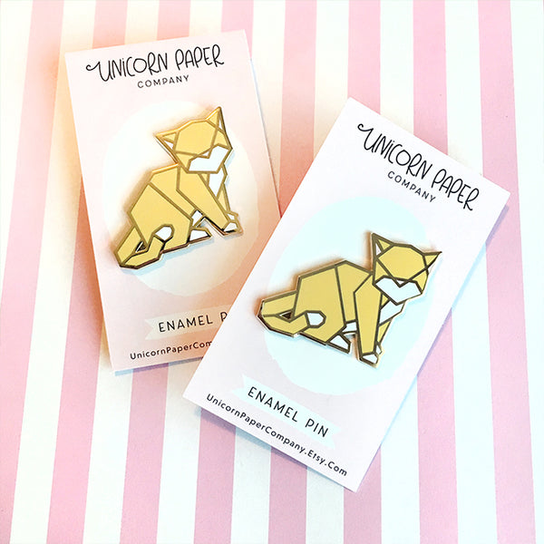 Origami Cat Enamel Pin
