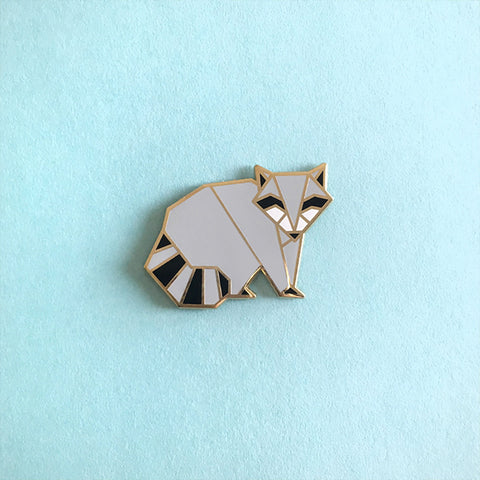Origami Raccoon Enamel Pin