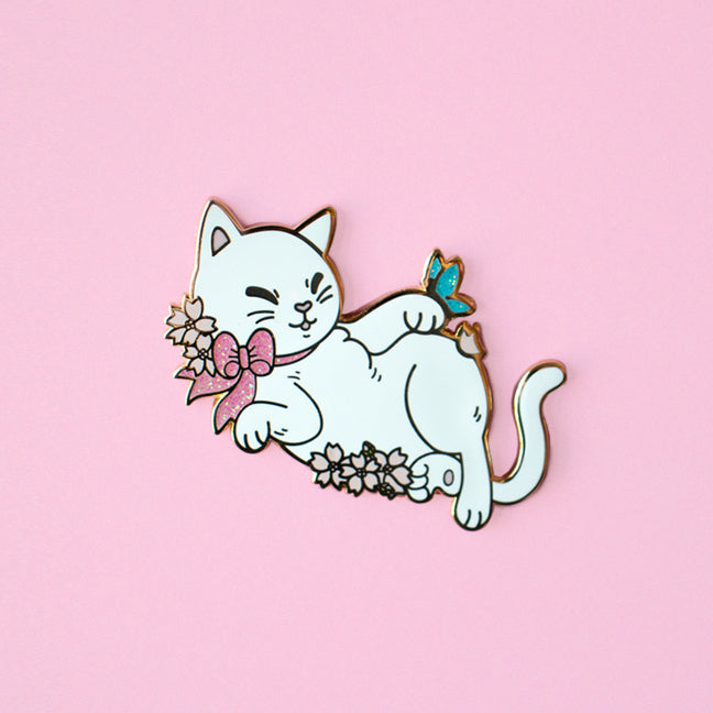 Limited Edition Spring Cat Enamel Pin