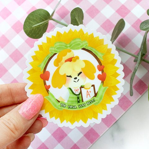 Animal Crossing Isabelle Motivational Waterproof Vinyl Sticker