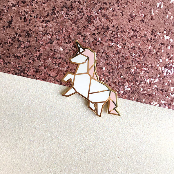 Origami Unicorn Enamel Pin