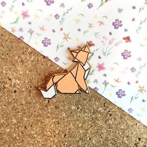 Origami Fox Enamel Pin