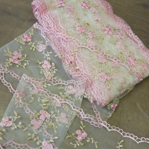 Pink and gold embroidered lace