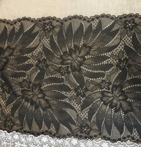 Black Stretch Lace 22cm