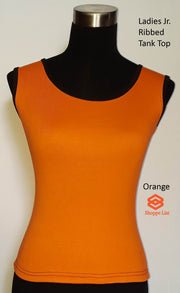 Ladies Jr. Ribbed Tank Top-Solid Colours with Black Trim