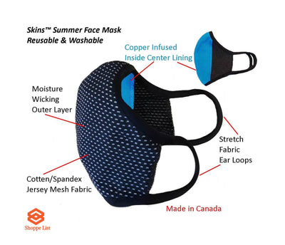 SKINS™ Summer Face Mask-Copper Infused, Reusable & Washable - Pack of 2.