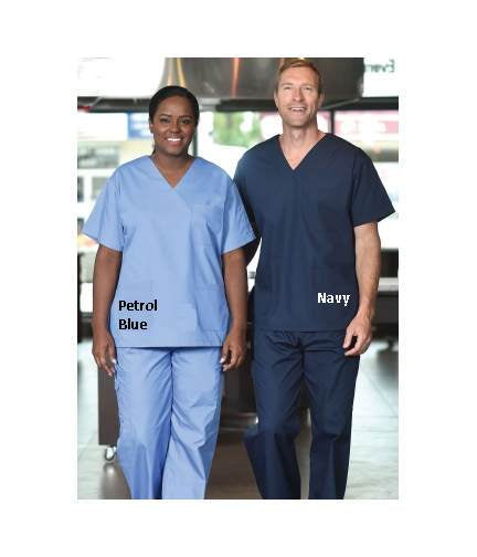 Unisex V-Neck Scrub Top, Short Sleeves