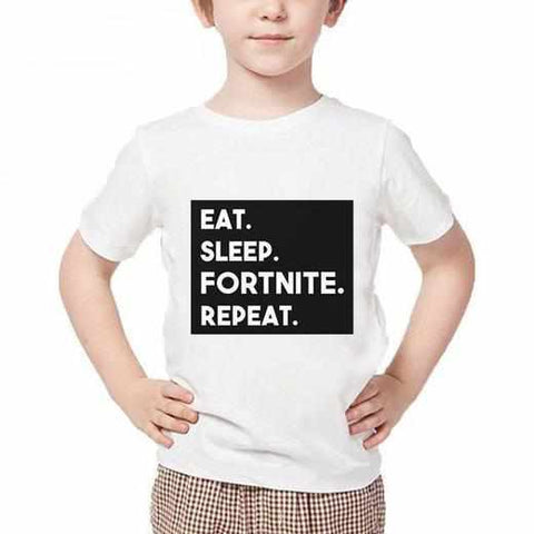 Loot Llama Fortnite - Kids White Fortnite Eat Sleep Fortnite Repeat T-shirt