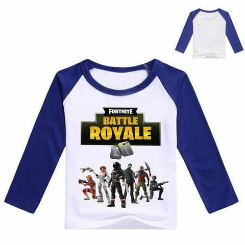 Loot Llama Fortnite - Kids White/Blue Fortnite Battle Royale Long-sleeve T-shirt