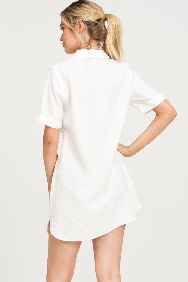 Wonderwall Shirt Dress - Ivory - VOLATILE