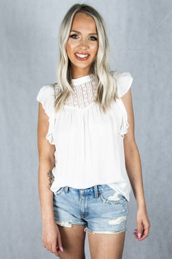 Too Fast For Love Flutter-Sleeve Top - Ivory - VOLATILE