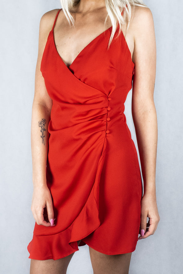Cherry Bomb Faux Wrap Dress - Red - VOLATILE