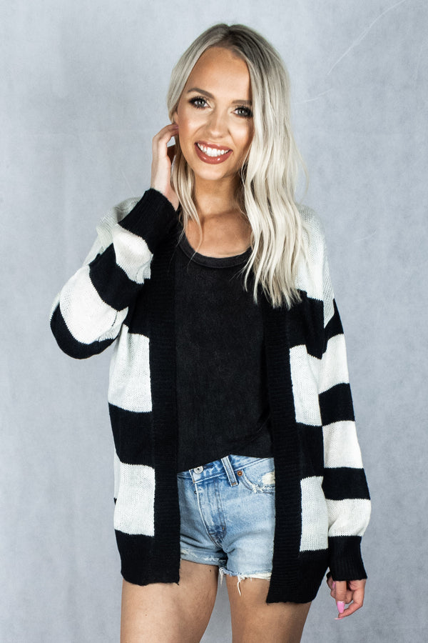Crazy Train Cardigan - Black Stripe - VOLATILE