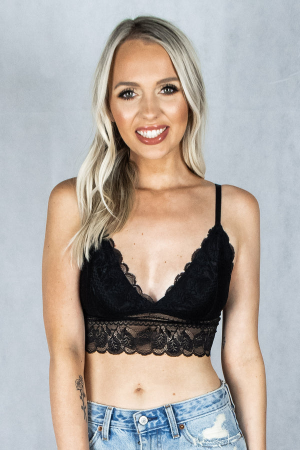 Addicted to Love Lace Bralette - Black - VOLATILE