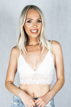Addicted to Love Lace Bralette - White - VOLATILE