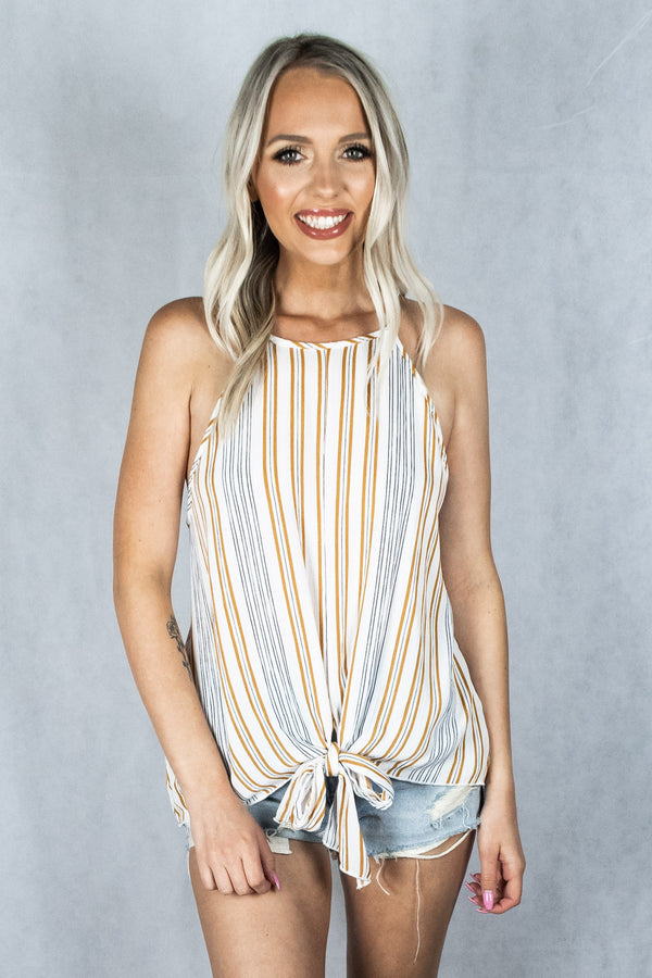 Boys of Summer Tie Front Cami Tank - Ivory/Mustard Stripe - VOLATILE