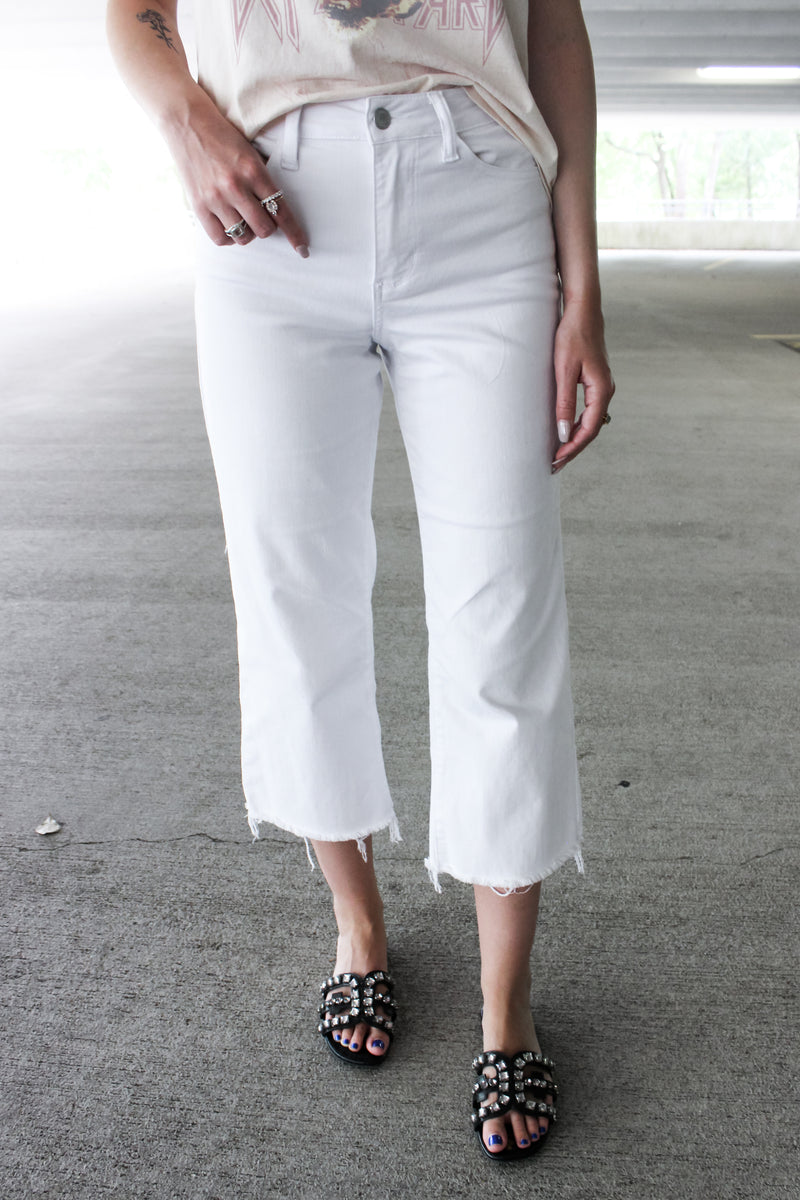 Jaded Cropped Wide Leg Jeans - White - VOLATILE
