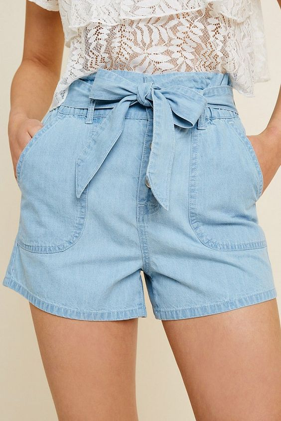 Santa Monica High-Rise Belted Paperbag Shorts - Light Denim - VOLATILE