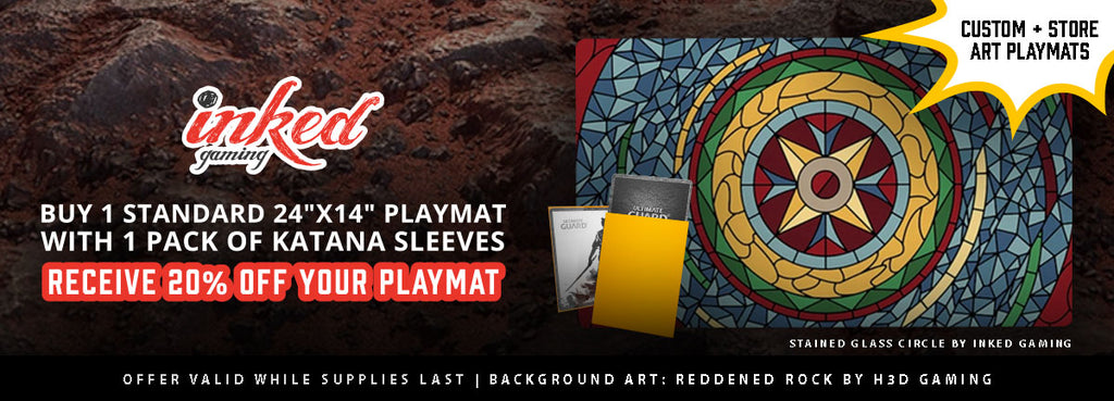"Flash Sale: Buy 1 Standard 24"" x 14"" Playmat With 1 Pack Katana Sleeves, Receive 20% Off Your Playmat"