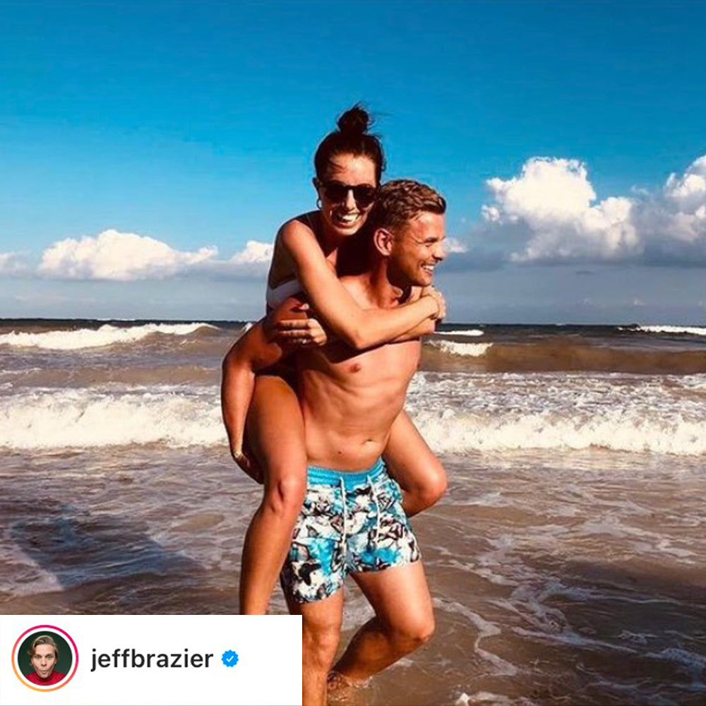 TV Personality and presenter Jeff Brazier in Tropical butterfly print Thomas Royall Luca swim shorts