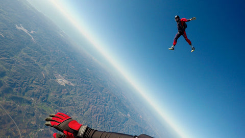 Sky diving out of a plane