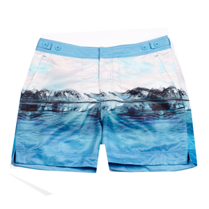 Our smart tailored fit 'George' swim short features a photographic 'Arctic' blue iceberg digital print design & signature Thomas Royall azure blue waistband