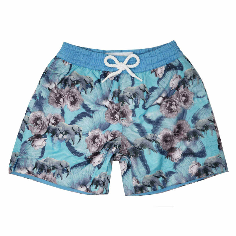 Our playful Thomas Royall 'Africa' kids swim shorts showcases an elephant and butterfly design.