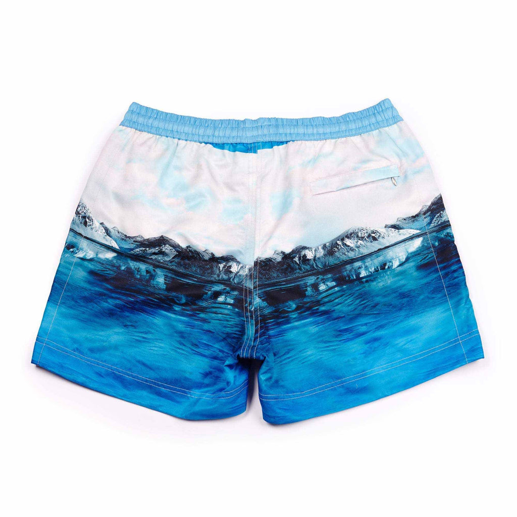 Our smart 'Luca' swim short features a photographic 'Arctic' blue iceberg digital print design & signature Thomas Royall azure blue drawstring waistband