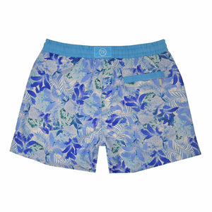 Our 'Argentina' Luca swim shorts showcases a contrasting floral leaf design. This 'Luca' style features our signature Thomas Royall blue waistband with a relaxed day to night fit.