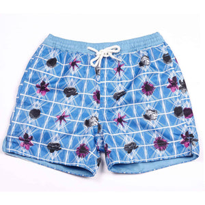 Our geometric 'Bahamas' shorts featuring a contrasting floral design in royal blue with fuchsia pink & black small floral details. All kids swim shorts finished with our signature Thomas Royall azure blue, elasticated waistband