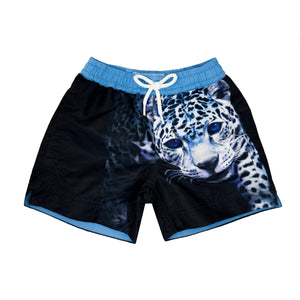 Our statement 'Leopard' kids shorts featuring a striking leopard design.