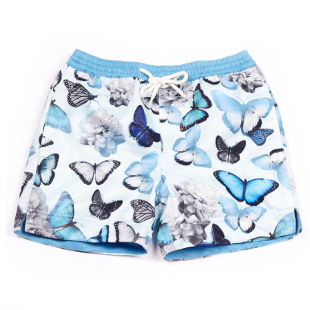 Our signature 'California' kids shorts featuring our iconic butterflies in cooling shades of blue.