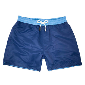 Our classic 'Cannes' shorts in a solid navy blue design. The 'Luca' fit features our signature Thomas Royall blue waistband with a relaxed day to night fit.