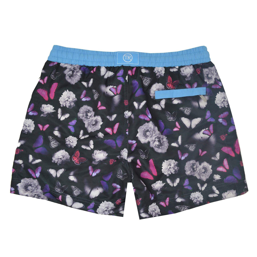 Costa Rica' kids shorts showcasing a our contrasting signature butterfly design. This 'Luca' style features our signature Thomas Royall blue waistband with a relaxed day to night fit.