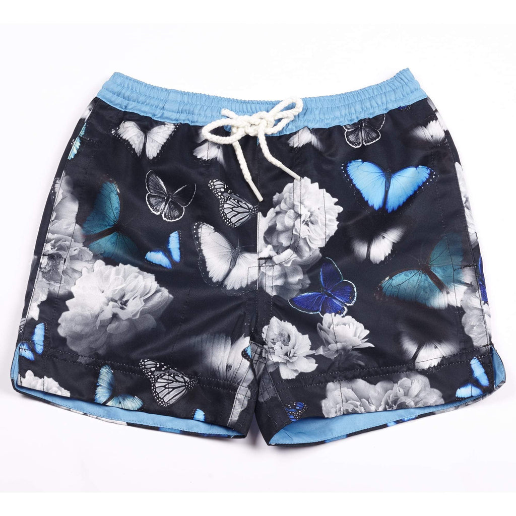 Our signature 'Cuba' kids shorts featuring our iconic butterfly design in contrasting blue and blue.