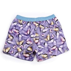 Our lilac 'Emperor' shorts with a scattered butterfly design.