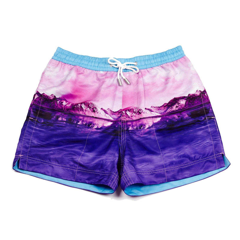A photographic pink 'Iceberg' shorts featuring a iceberg design. The 'Luca' fit features our signature Thomas Royall blue waistband with a relaxed day to night fit.