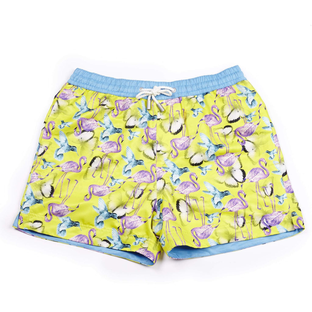 Colourful 'Jamaica' kids shorts featuring a flamingo, bird and butterfly design. The 'Luca' fit features our signature Thomas Royall blue waistband with a relaxed day to night fit.