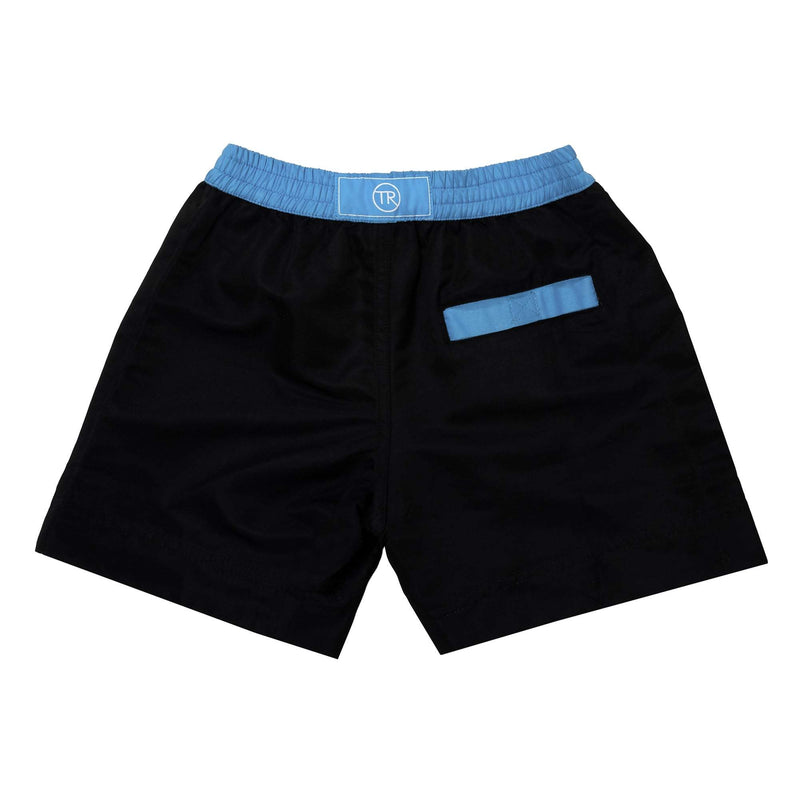 Your little guy will look effortlessly chic in our plain, Jet Black swim shorts.