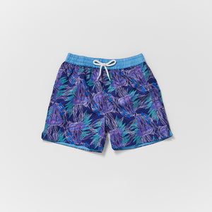 Matching father and son Thomas Royall swim short in dark purple and violet with green leaf pattern