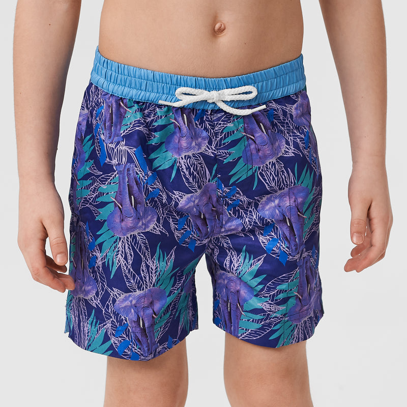 Young boy model wearing Thomas Royall dark purple swim shorts with green leaf pattern
