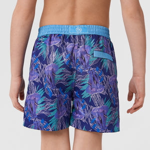 Back of Thomas Royall kids swim shorts showing high quality detail of blue waistband and logo zip