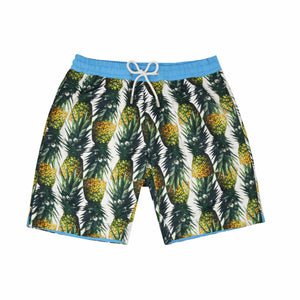 Our 'Montego' shorts showcasing a fruity pineapple design. This 'Bobby' style features our signature Thomas Royall blue waistband with a mid length, relaxed day to night fit.