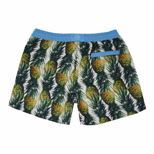 Our 'Montego' shorts showcasing a fruity pineapple design. This 'Luca' style features our signature Thomas Royall blue waistband with a relaxed day to night fit.