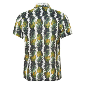 The 'Montego' mens shirt showcasing a fruity pineapple design. Style this shirt with matching 'Montego' shorts for both kids and adults.
